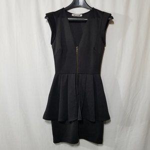 Mystic black mini dress with zipper